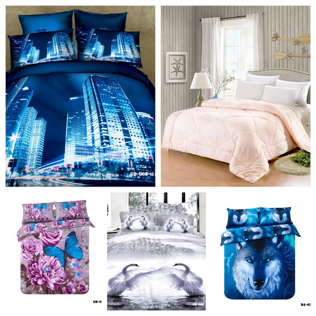 100 Cotton 7pc 3d Bed In A Bag California King Size Blue Wolf White Swan Animal Queen Comforter Set