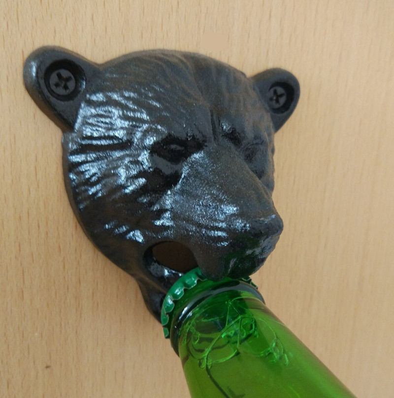 Kitchen Bar Openers Tools Vintage Cast Iron Bear Head Shape Soda Top Beer Opener Wall Mounted