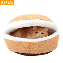 Petshy Warm Cat Bed House Hamburger Kennel Disassemblability Windproof Pet Puppy Kitty Nest Small Dogs Sleeping Bag Cushion