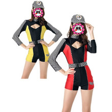 Abbille 3 Pcs Sexy Car Racing Costume Women Long Sleeve Jumpsuit Super Car Girl Fancy Dress