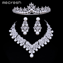 Mecresh Luxury Simulated Pearl Bridal Jewelry Sets Silver Color Crystal Necklace Sets Wedding Engagement Jewelry HG023+TL309