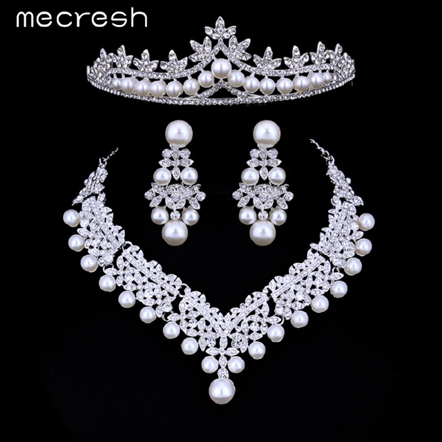 Mecresh Luxury Simulated Pearl Bridal Jewelry Sets Silver Color Crystal  Necklace Sets Wedding Engagement Jewelry HG023 b127a52fa3ea