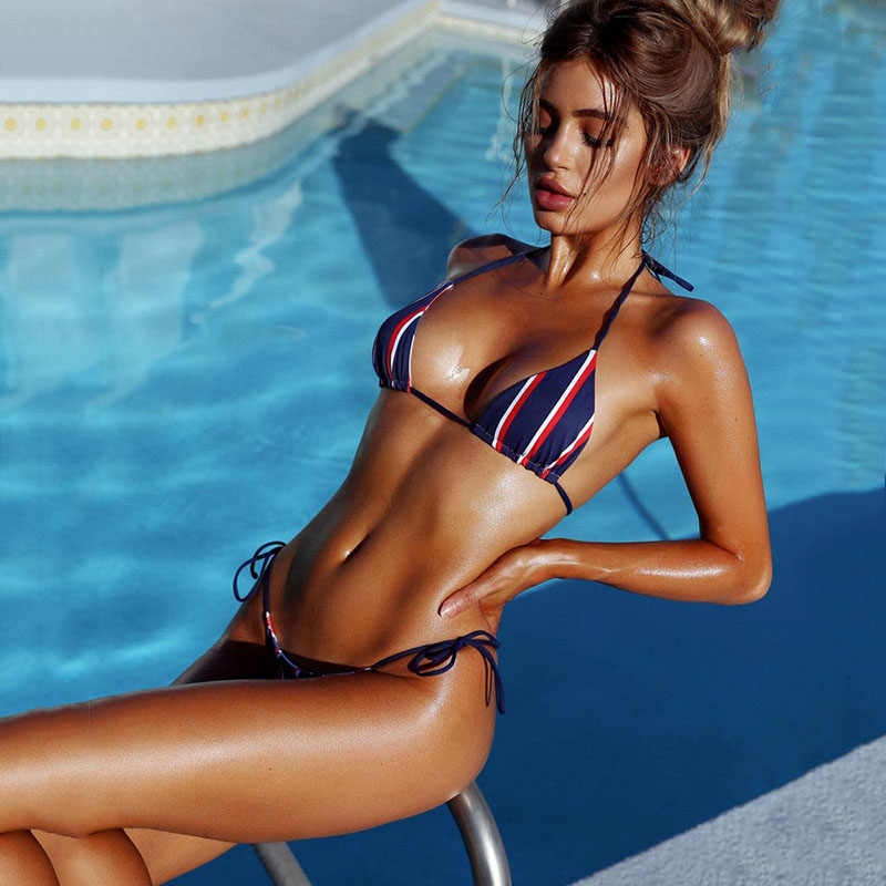 6a42ce2e754 sexy Navy style stripes bikini 2019 bikini halter Swimsuit Padded Bra  Swimwear Printed Bathing Suit maillot