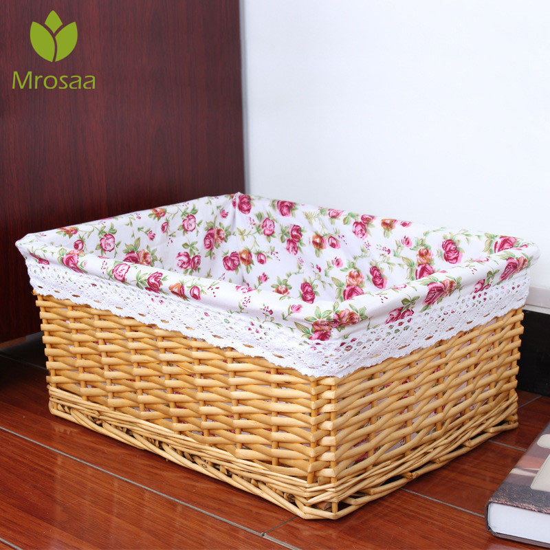 New Bamboos Weaving Storage Baskets Fruits Picnic Basket Rattan Storage Boxs For Cosmetics Snacks Tea Books Organizer Handiwork
