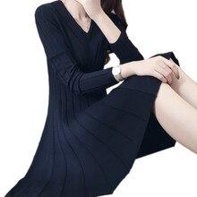 Красные, черные элегантные линии Платья-свитеры мягкие зима-осень платье Повседневное V шеи трикотажные мини сексуальное платье удобный халат tt3504