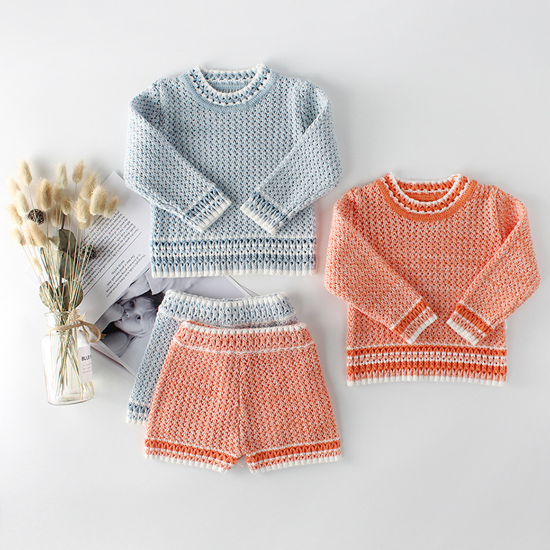 2018 autumn winter new wholesale girls knitted clothing sets boys clothes baby girl clothes baby boy clothes sweaters+shorts 2 p ...