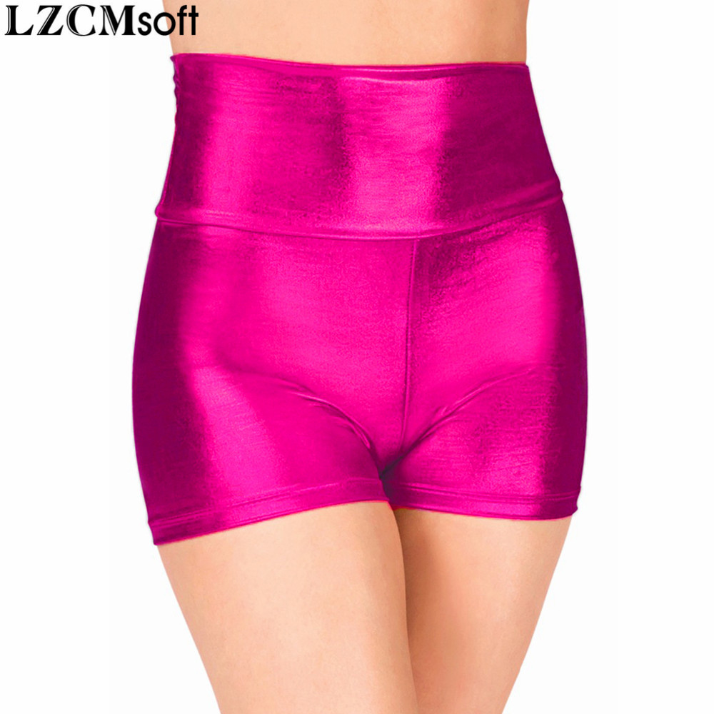LZCMsoft Adult Fuchsia High Waisted Dance   Shorts   Sexy Wet Look Skinny Rave Booty Stage Performance   Shorts   Metallic Underpants