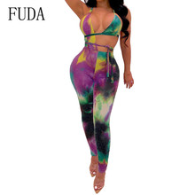 FUDA Women Rompers Sexy Open Back Halter Bodycon Jumpsuits Vintage Printed Hollow Out Sleeveless Playsuits Combinaison Femme