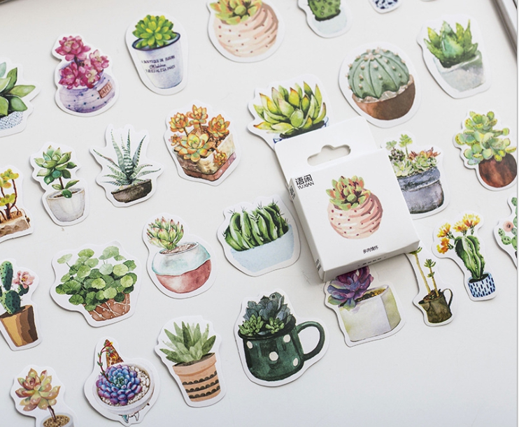 S100- Green Plant Diy Decorative Sticker(1pack=50pieces)