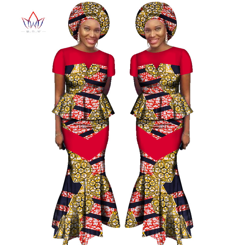 African Skirt Set For Women Dashiki Free Headtie Plus Size Africa Clothes Crop Top And Mermaid Skirt Lady Set WY2381