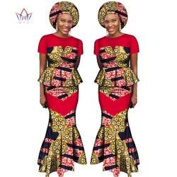 Afrikanische Rock Set für Frauen Dashiki Freies Headtie Plus Größe Afrika Kleidung Crop Top und Meerjungfrau Rock Dame Set WY2381