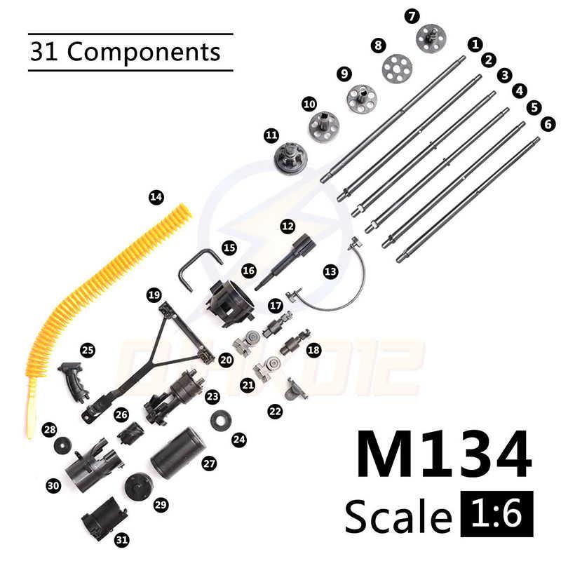 1:6 1/6 escala 12 polegada figuras de ação m134 gatling minigun terminator t800 metralhadoras pesadas + bala cinto presente para crianças