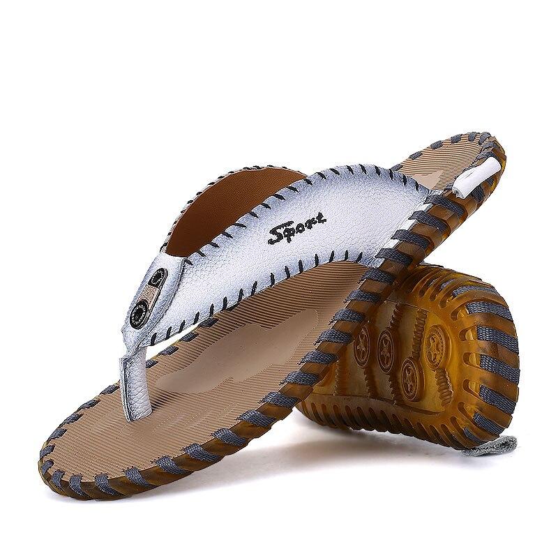 Pantoufles 2018 Plat Hommes Plage slip D'été Chaussures Mâle blanc Marque En Non Noir Véritable Cuir Zhk306 Tongs De orange AxvArwqz