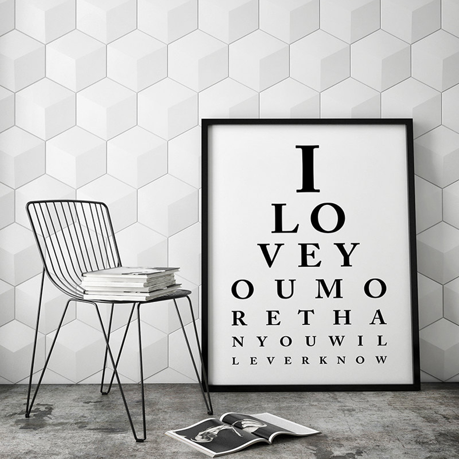 Eye Chart Wall Art I Love You Eye Chart Scandinavian