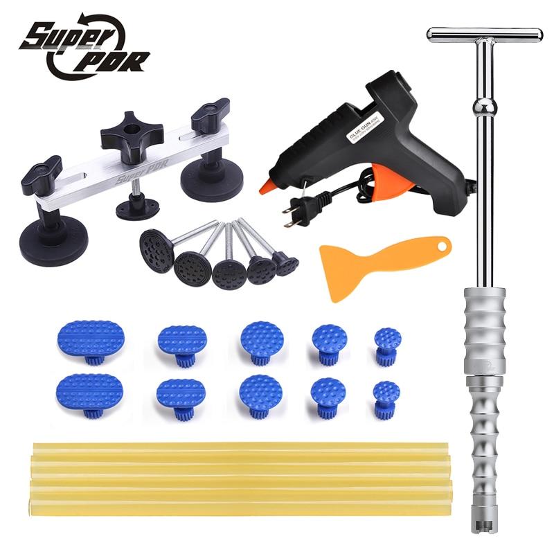 Super PDR Paintless dent repair tools slide hammer pulling bridge set glue gun glue sticks set car body dent removal hand tool цена и фото