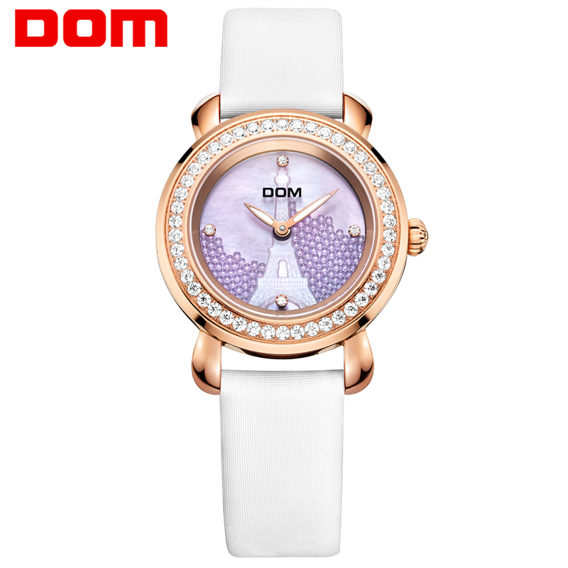 DOM Women's Watches Brand Waterproof Quartz leather Watch Sapphire Crystal Reloj Hombre Marca De Lujo Ladies Watch Clock G-613 classic style natural bamboo wood watches analog ladies womens quartz watch simple genuine leather relojes mujer marca de lujo