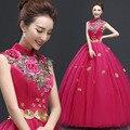 New Rose moda trajes solo vestido largo mujer de hilo de color rojo vestido de noche vestido de fiesta vestido de noche vestidos de fiesta