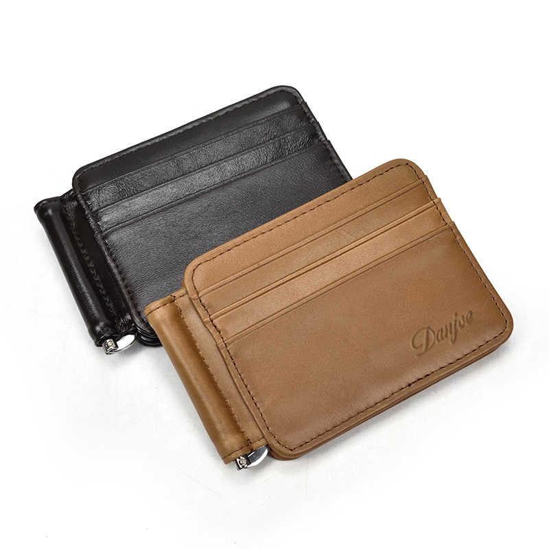 DANJUE moda hombres dinero Clips billetera negro marrón cuero genuino dólar estadounidense monedero abrir abrazadera dinero Cowskin tarjeta de crédito paquete