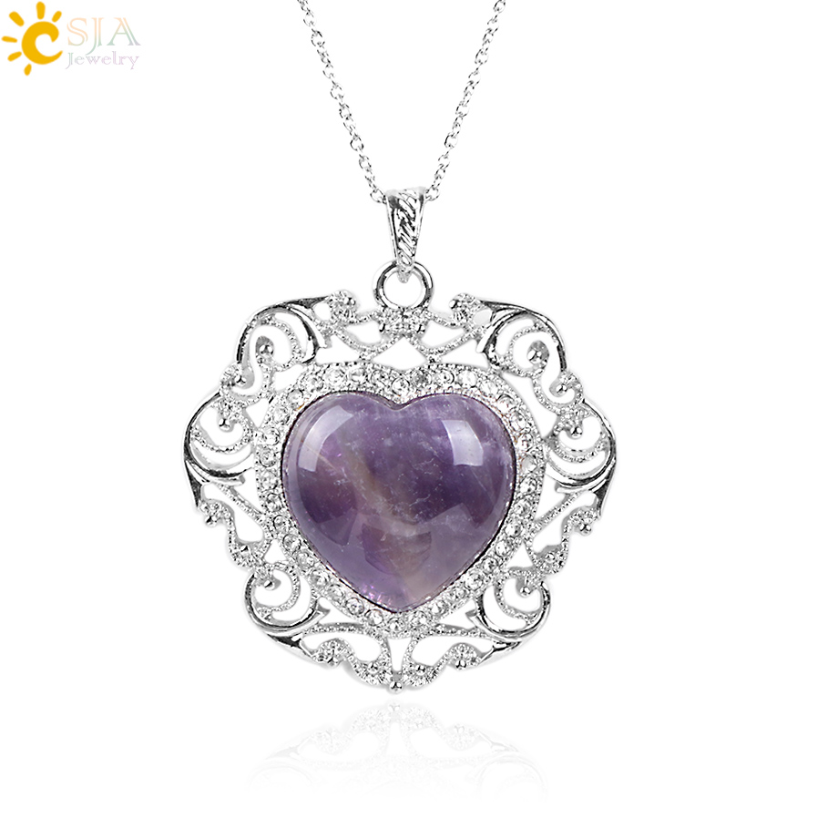 CSJA Rhinestone Beads Luxury Pendant Chain Necklace Real Nat