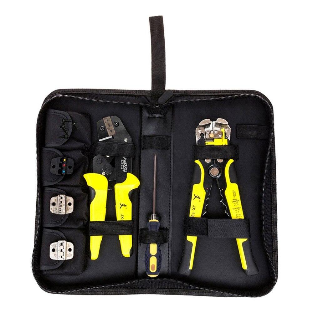 JX-D4301 4 em 1 Universal Kit Ratchet Ferramenta de Friso Terminais Alicate Strippers Fio de aço Manganês P10 + Cortador de Cabo de Qualidade