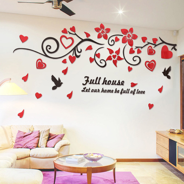 3D Bird Love Flower Vine Wall Decals Art TV Background Acrylic Mirror Wall  Stickers Decorations Living