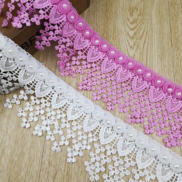 Us 30 36 12 Off Aliexpress Com Beli Gratis Pengiriman 15 Meter Putih Pink Gaun Pengantin Kain Renda 3d Sifon Bunga Beaded High End Eropa Kain Renda