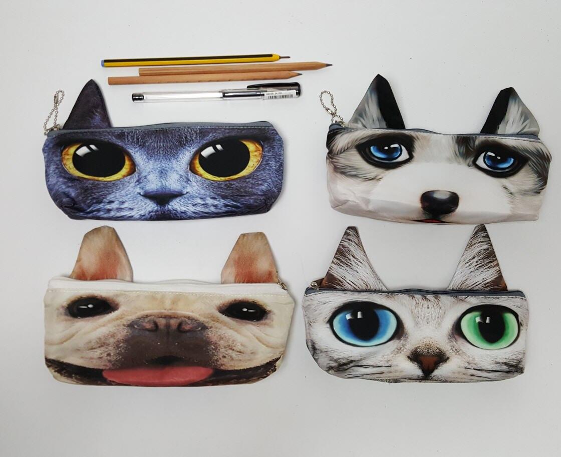 20*8CM Cute Cat and Dog printed Long pencil bag school pen bag small Coin Purse Children wallet