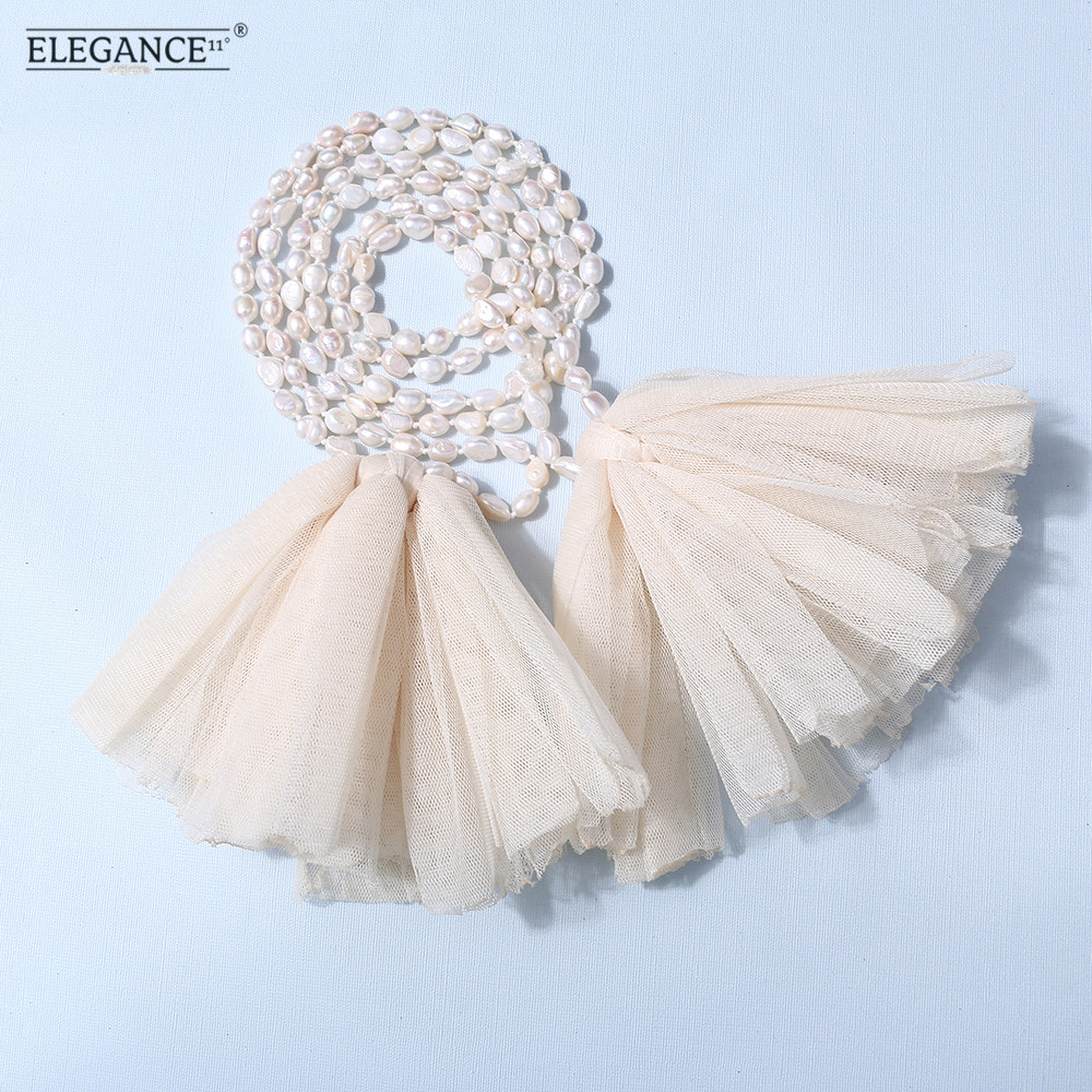Badu Baroque Irregular Freshwater Pearl Sweater Necklace Long Beaded Bohemian Lace Flower Necklaces for Women Wholesale