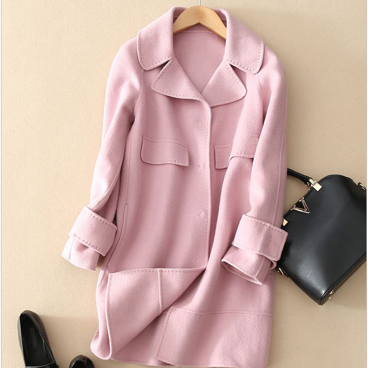 Pink Wool Coat Women Pink Cashmere Brand Woolen Coat Female Long ...