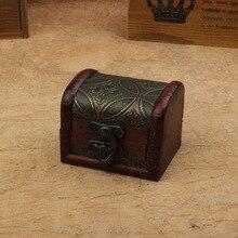 Hot Vintage Metal Lock Jewelry Treasure Chest Case Holder Handmade Wooden Box Display Organizer