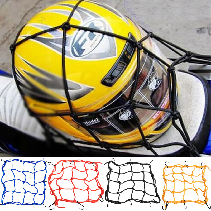 30*30cm Motorcycle Fuel Tank Helmet Net Moto Cargo Luggage Jackets Elastic Bungee Mesh for Scooter with 6 Hooks Black