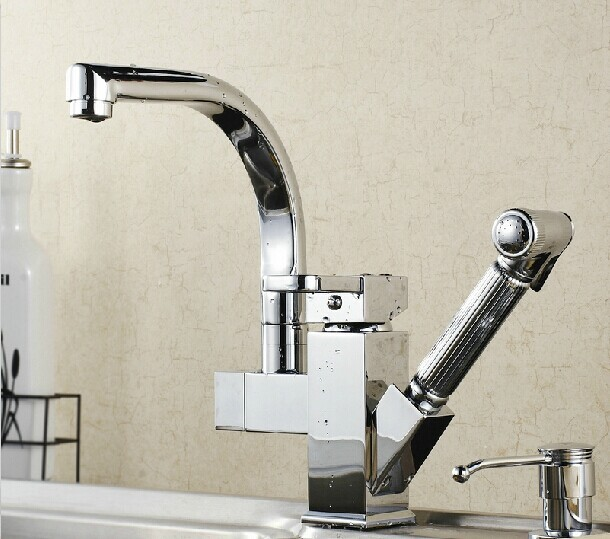 2014 Contemporary Dual Handle Polished Rushed Torneira Torneiras Kitchen Faucet Cold Faucet Plumbing Hose Kitchen Out