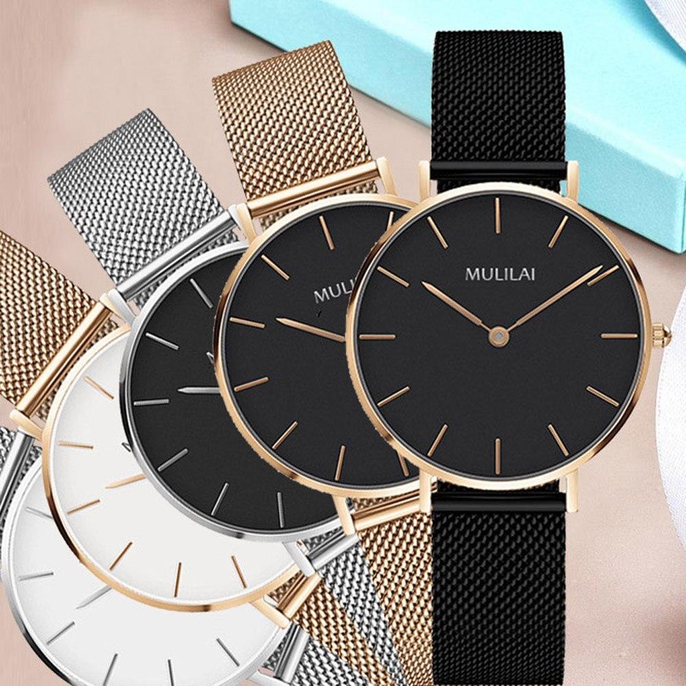 Quartz Watch Fashion Women Rose Gold Steel Bracelet Watch