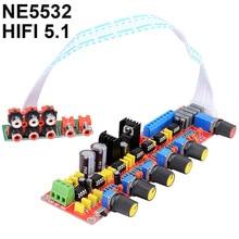 لوحة مضخمة للصوت مسبقًا لوحة التحكم في مستوى الصوت لـ 5.1 لوحة مضخمة للصوت NE5532 HIFI AC15V 0 15V شحن مجاني 5.1