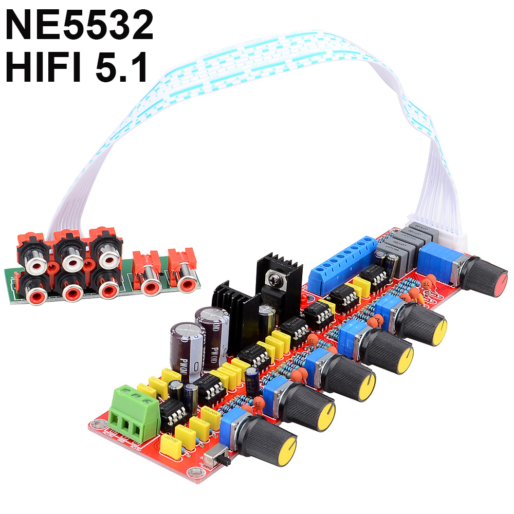NE5532 HIFI 5.1 Tone Plate Pre-amplifier Board Volume Control Panel for 5.1 Amplifier Board AC15V-0-15V Free Shipping 12003207 new arrival ne5532 op amp hifi amplifier preamplifier volume tone eq control board diy kits free shipping