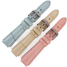 High Quality Genuine Leather Watch Strap PINK BLUE YELLOW Watch band for Casio LTP-2069L-4A 14mm