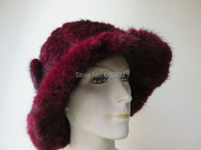 free shipping Lady s Genuine Real Mink Fur hand made knitted Top Hat wine red