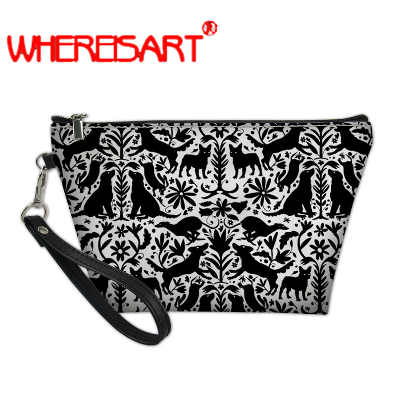WHEREISART Vanity Bags For Women Dog Otomi Bolsa Maquilhagem Small Makeup Bag Makeup Organizer Bag