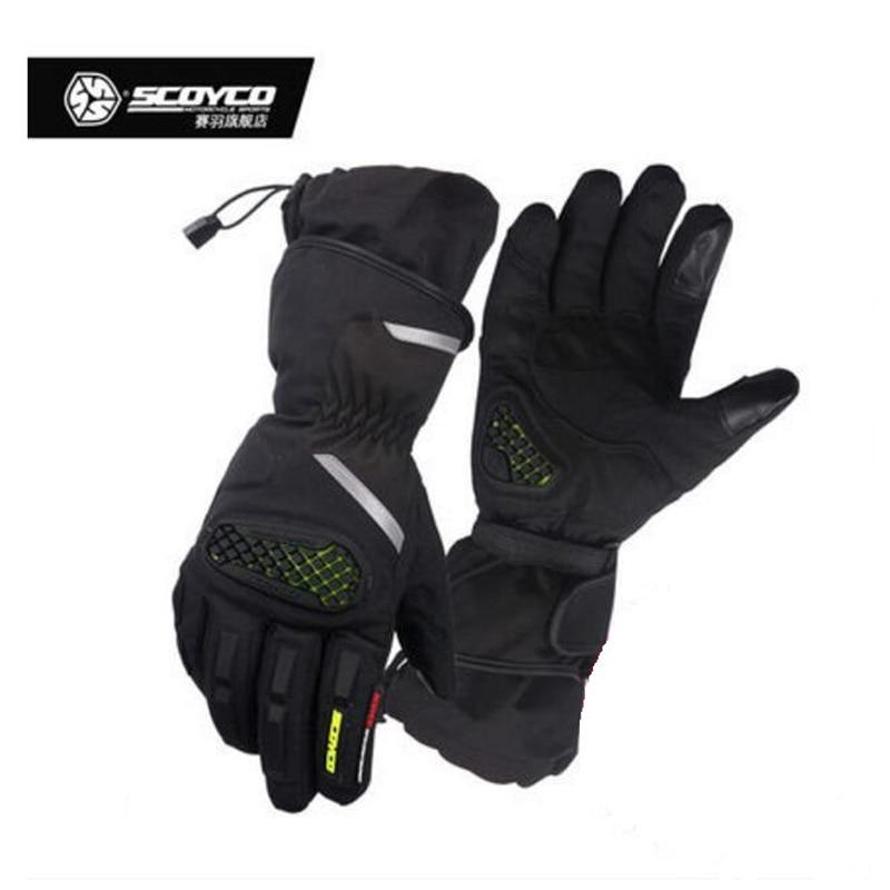 2017 Winter New warm SCOYCO Motorcycle Gloves MC48-2 Waterproof Motorbike Glove Anti wrestling of nylon Polyester PVC Reflective