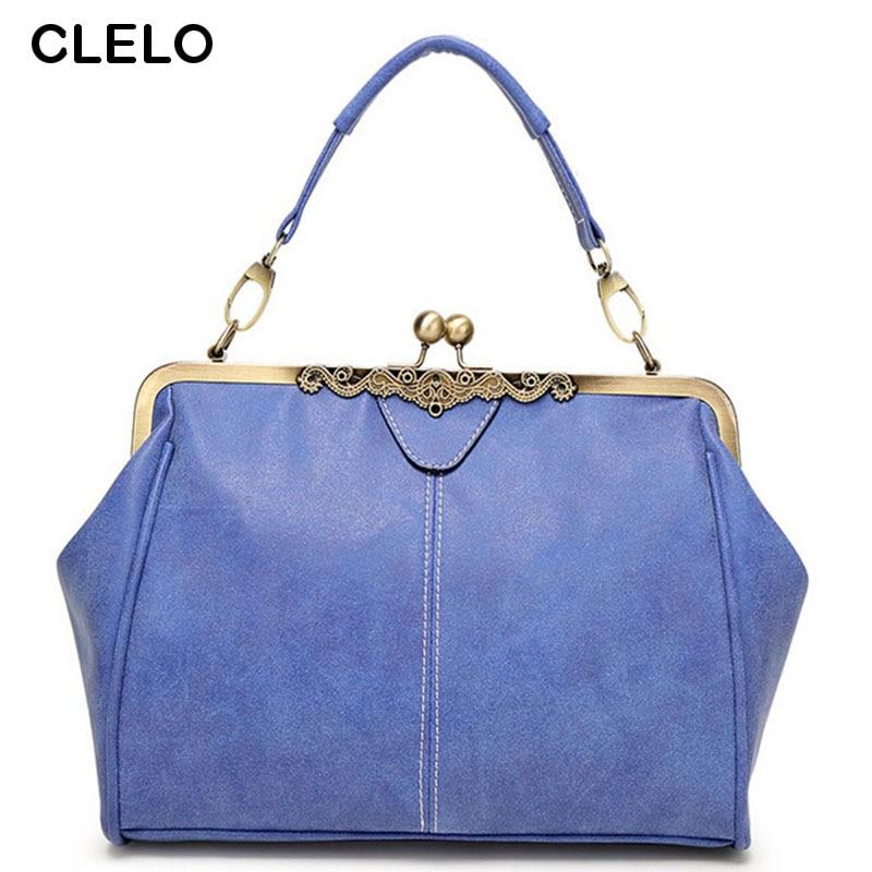 CLELO Casual Vintage Small Women bag Bucket Shoulder Bags Solid Big Handbag Larg