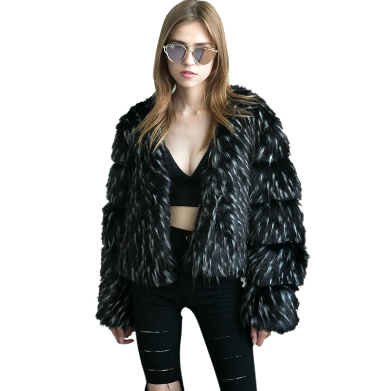 все цены на Himanjie Elegant Winter Coat 2017 Women black/blue Open Front Autumn Winter Ladies Long Sleeve Outerwear short Faux Fur Coat