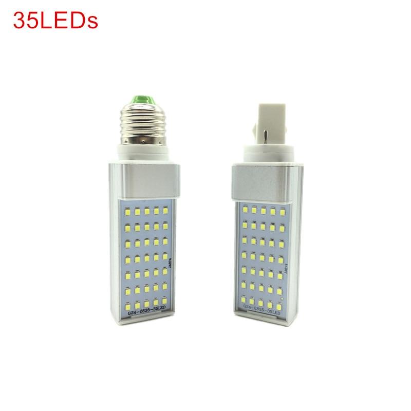 Светодиодные лампы G24/E27, 7 Вт, 9 Вт, 11 Вт, 13 Вт, 15 Вт, 18 Вт, светодиодные лампы для кукурузы, SMD 2835, прожектор, 180 градусов, AC85-265V, горизонтальная вил...