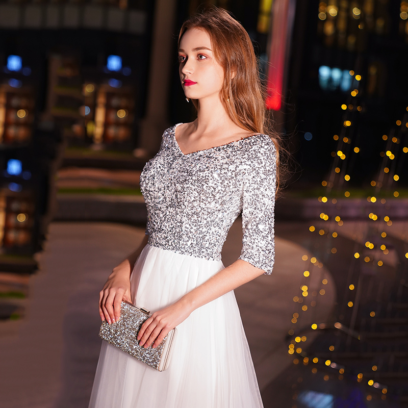 Image 4 - weiyin White A line Long Evening Dresses V neck Half Sleeves Floor Length Sequined Evening Dress Formal Party Dress Prom Dress-in Evening Dresses from Weddings & Events
