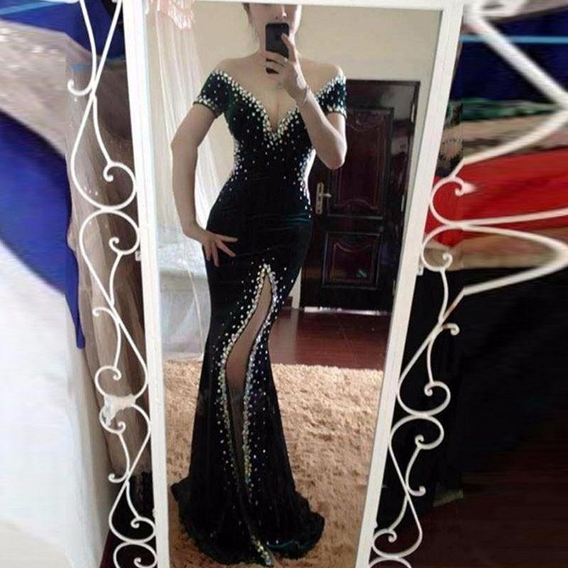 Cazador de Terciopelo Verde Sirena Vestido de Noche 2017 Vestido De Festa Profun
