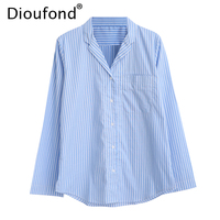 Dioufond Striped Tailored Collar Autumn Long Sleeve V Neck Shirt Women Pocket Casual Blouses Blue White