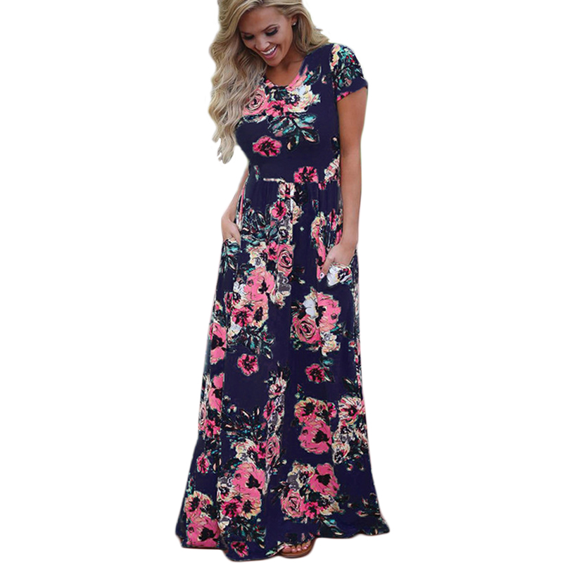 a3fd79ccd7 Women Summer Floral Print Long Maxi Dress 2018 Boho Beach Dress Short  Sleeve Evening Party Dress Tunic Vestidos Plus Size XXXL