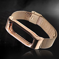 Metal Replacement Screwless Automatic Buckle Watchband Smart Watch Band Strap Bracelet for Xiaomi Mi Band 2 Rose Gold