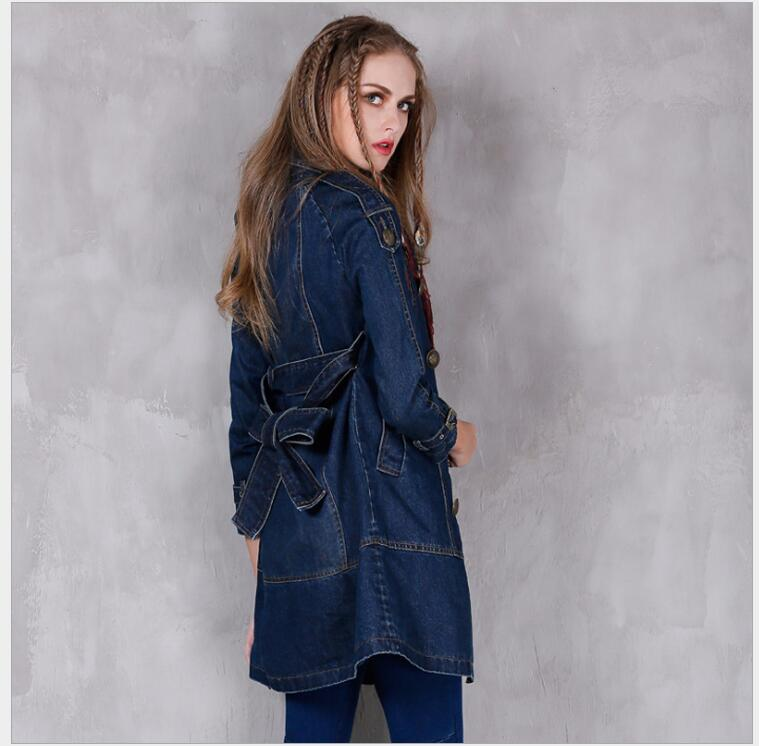 Coat Coreana 2018 Mujer Trench Windbreaker Gran Azul Primavera 1 Denim  Verano Mujeres Manga Outwear Ropa De Tamaño ... c6ddc631387b