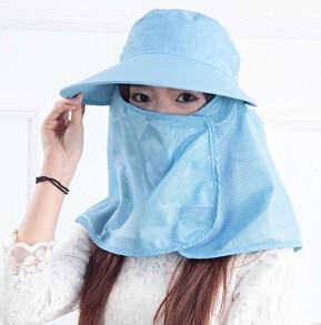 Новое поступление открытый широкие Полями Летняя Съемная Солнцезащитная шляпа для женщин лицо шеи крышка откидной козырек УФ шапки 5 цветов - Цвет: Blue