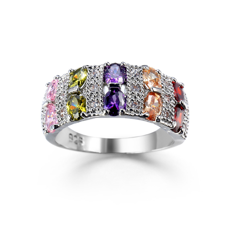 Trendy Luxury 8 Colors Band Promise Rings For Women Wedding Engagement Colorful Sparkling CZ Cubic Zircon Jewelry Bague Bijoux in Engagement Rings from Jewelry Accessories